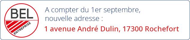 A compter du 1er septembre, nouvelle adresse : 1 avenue André Dulin, 17300 Rochefort
